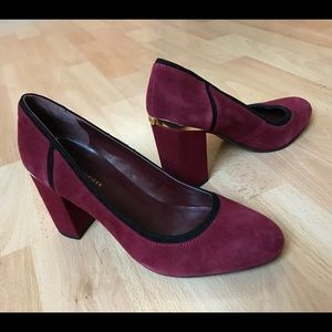 Tommy Hilfiger Wine Suede Pump with Gold Accents
